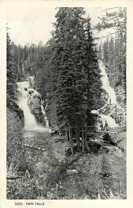 RPPC of Twin Falls in Glacier National Park MT Montana 1949