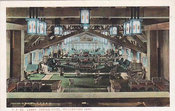 Lobby, Canyon Hotel, Yellowstone Park, Wyoming, 1900-1910s