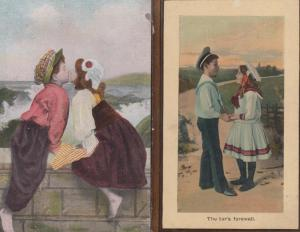 The Tars Farewell Kiss Children Young Romance 2x Antique Love Postcard s
