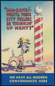 Dog Using a Barber Pole unused c1940's