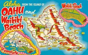 HI, Hawaii   OAHU~HONOLULU~WAIKIKI BEACH Map Card   1951 Chrome Postcard