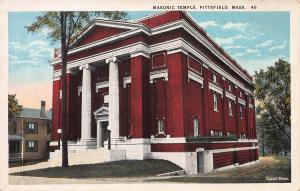 Masonic Temple, Pittsfield, Massachusetts, Early Postcard, Unused