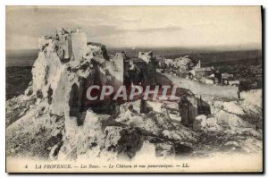 Old Postcard The Provence Les Baux Chateau and panoramic view