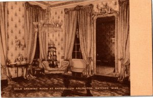 Gold Drawing Room at Antebellum Arlington, Natchez MS Vintage Postcard D03