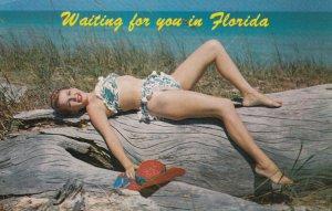 PIN-Up: Girl in white & Blue Bikini , 1950-60s