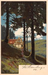 House Trees Forest Painting, Fr. Soederling 1904