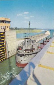 Freighter leaving the Bertrand H. Snell Lock,  St. Lawrence Seaway & Power Pr...
