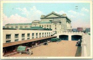 1929 Kansas City, Missouri Postcard H-3350 - THE UNION STATION Fred Harvey