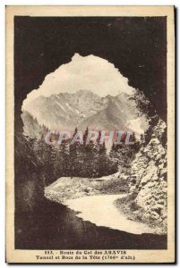 Postcard Old Route Col des Aravis Tunnel and rocks of the head
