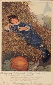 Little Boy Blue Sleeping Boy Pumpkin c1911 Antique Postcard D32 *As Is