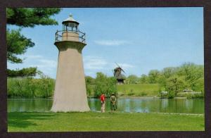 IL Lighthouse Dutch Wind Mill near BATAVIA & GENEVA ILLINOIS Postcard PC