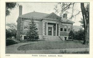 c1910 Printed Postcard; Public Library, Ashland MA Middlesex County unposted
