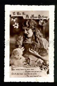 045176 Cute Lady w/ KITTENS & PUPPY. Vintage PHOTO
