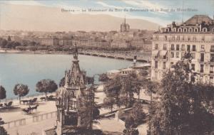 Le Monument Du Duc De Brunswick Et Le Pont Du Mont-Blanc, GENEVE, Switzerland...