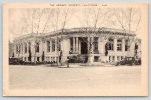 Modesto California~Public Library~I & 14th Street Corner~Now Museum~1920s Car