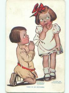 Pre-Linen signed KATHARINE GASSAWAY - BOY ON KNEES BEGGING GIRL AC1580