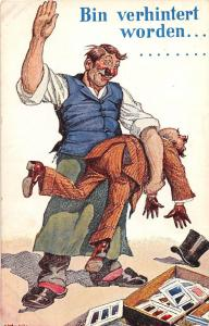 B93/ Germany Foreign Postcard c1910 Bin Verhintert Worden Spanking Comic 43