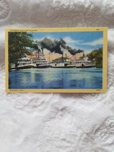 Antique Postcard, Steamboat Races on the River