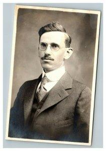 Vintage 1920's RPPC Postcard Portrait Man Suit Round Glasses Wilmington Delaware