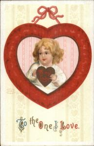 Valentine - Little Girl w/ Gold Heart - Unsigned Clapsaddle? c1910 Postcard rpx