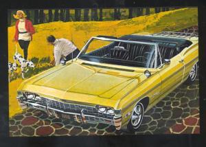 1968 CHEVROLET IMPALA CONVERTIBLE CAR DEALER ADVERTISING POSTCARD '68 CHEVY