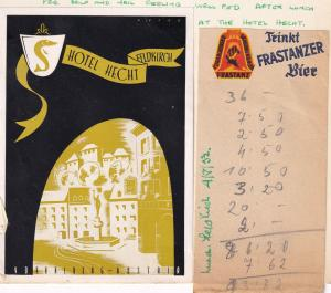 Hotel Hecht Feldkirch Bier Receipt 1952 Ephemera