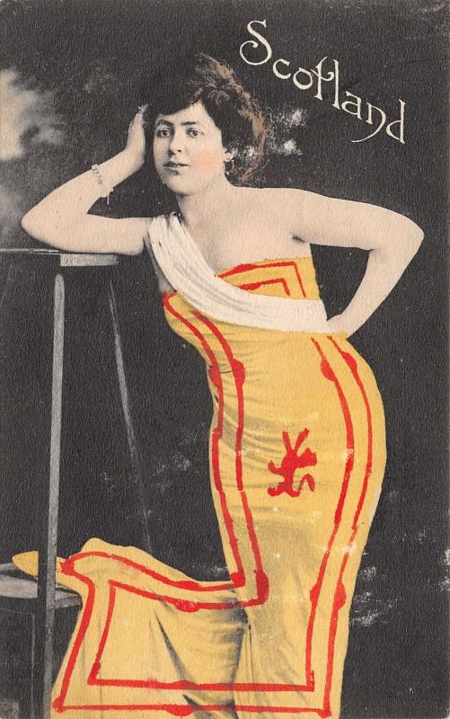 Patriotic Scotland~Beautiful Woman Draped in Yellow Red Lion Flag~1907 Postcard