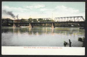 Sixth Street Bridge Over Muskingum River Zanesville Ohio Unused c1905