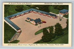 Iona Ontario Canada, 20th Century Motor Court, Aerial View, Linen Postcard