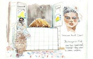 Nouakchott Markets Traders Uniform Mauritania Painting Postcard