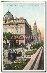 Paris Old Postcard concierge flower market