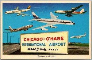 1960s CHICAGO Illinois Postcard O'HARE INTERNATIONAL AIRPORT Planes Sign Unused