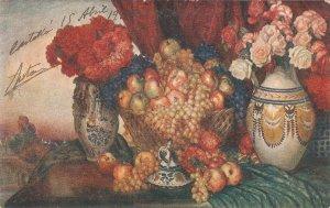 P. Martinez. Still Life. Bodegon  Fine painting, nice Spanish PC 1920s