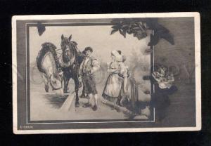 033116 HORSES near Water. In Flowers. Vintage PC