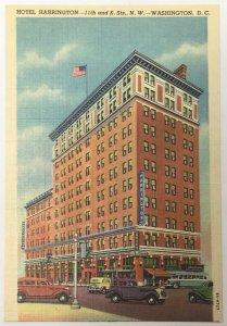 Old Vintage Linen Era Postcard Hotel Harrington Washington D.C. DC Curteich