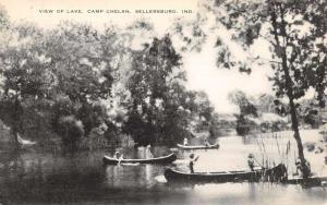 Sellersburg Indiana Camp Chelan Row Boat Waterfront Antique Postcard K100411