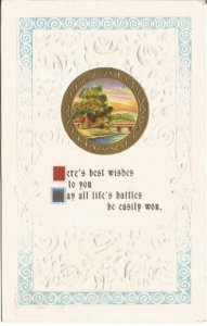 Life's Battles Country Cottage Scene Vintage Postcard Lakeside and Dock