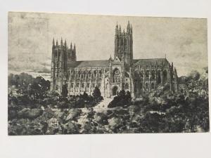 Postcard washington Cathedral black and white Mount Alban Washington DC A6