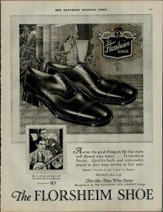 1927 Florsheim Shoe For The Man Who Cares Vintage Print Ad 3883