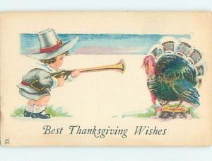 Pre-Linen thanksgiving PILGRIM BOY WITH RIFLE GUN SHOOTING TURKEY HQ7409-12