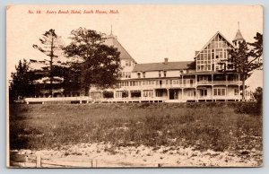 South Haven Michigan~Avery Beach Hotel~Sand Up in Lawn~Sign Below Porch~c1910