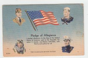 P2088, old patriotic postcard usa flag  military pledge of allegiance unused