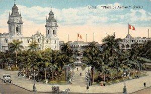 LIMA Plaza de Armas Peru Street Scene c1910s Vintage Postcard
