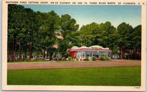 Florence, SC Postcard Southern Pines Cottage Court Highway 301 Roadside Linen