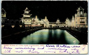 Cleveland, Ohio Postcard NIGHT SCENE AT LUNA PARK Amusement Park 1907 Cancel