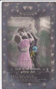 Hand Tinted RP: Man w/ Bouquet of Flowers Kissing Woman in Front of House 1925
