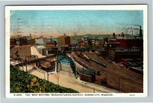 Kansas City MO-Missouri, The West Bottoms Manufacturing Vintage c1934 Postcard