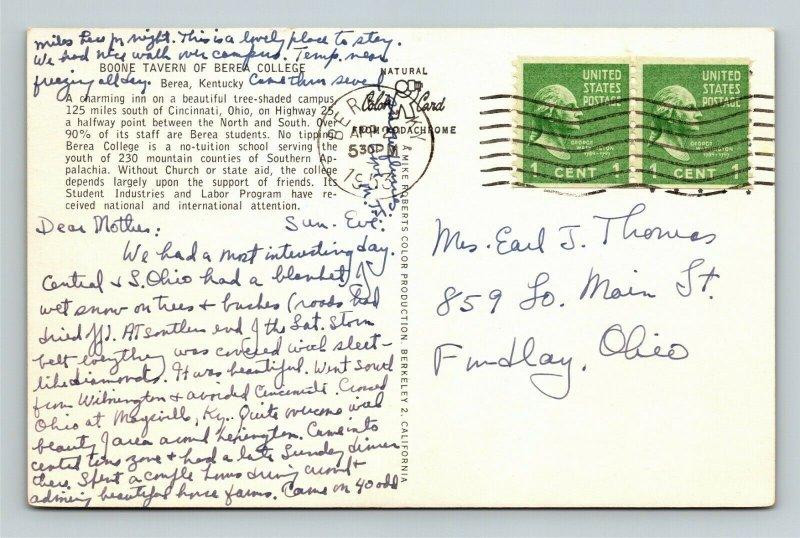 Berea KY-Kentucky, Boone Tavern Of Berea College, Chrome c1953 Postcard
