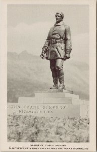 Statue of John F. Stevens Marias Pass MT Great Northern Railway Postcard G33