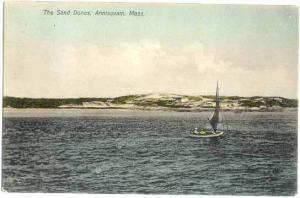Sand Dunes, Sail Boat, Annisquam, Massachusetts, MA, Divided Back